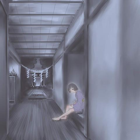 絵「大昔のばあやと神社」残暑