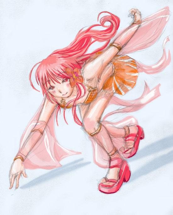 オレンジピンクのダンサー走りそう