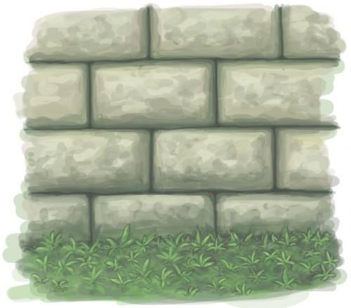 stone wall grass