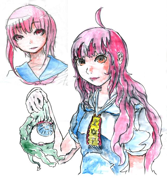 妖怪とピンク髪